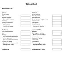 Simple Balance Sheet Template Free by Balance Sheet Templates Helloalive