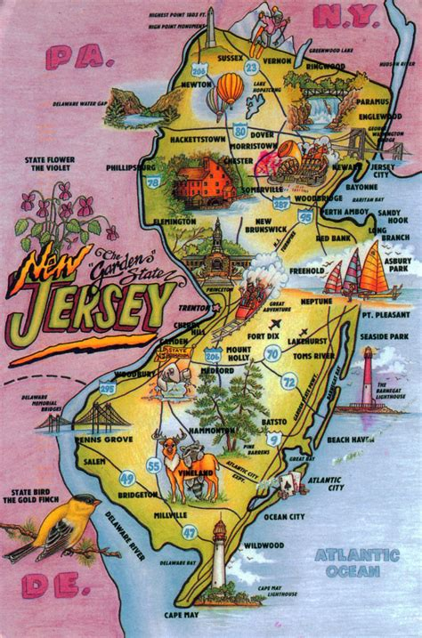 a to z the usa new jersey state flower detailed tourist illustrated map of new jersey state