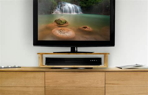Rotating Tv Stand With Shelf by Rotating Bamboo Flat Screen Tv Stand With Home Entertainment Shelf Rotates Tvs 360 Degrees