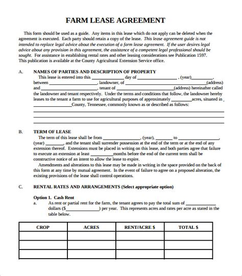 farm lease agreement template simple lease agreement 8 free documents in pdf