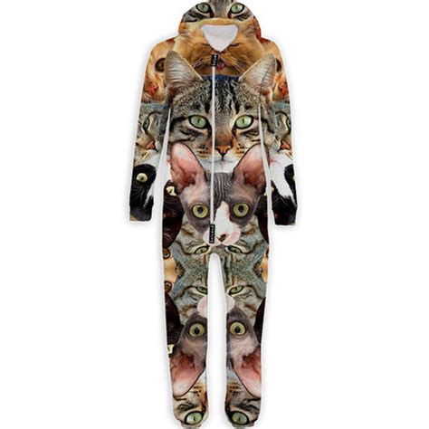 Jumpsuit Cat cat collage belovesie hooded jumpsuit onepiece onesie