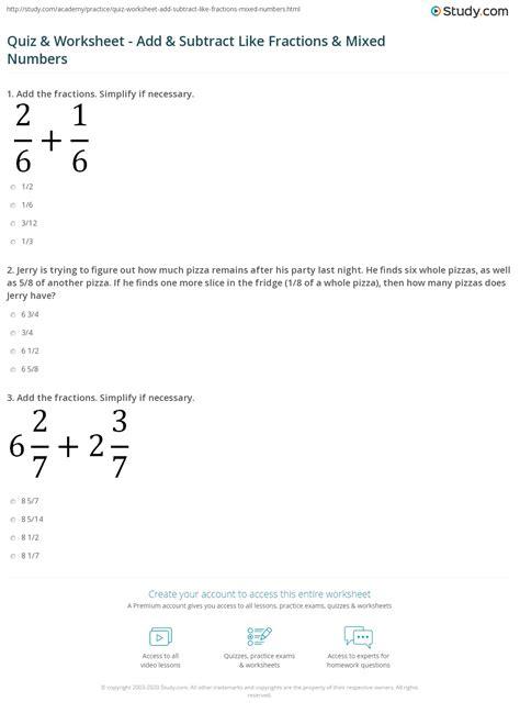 quiz worksheet add subtract  fractions mixed