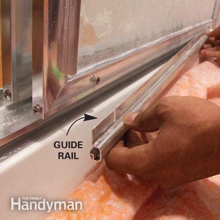 shower door tracks replacement how to adjust sliding shower doors the family handyman