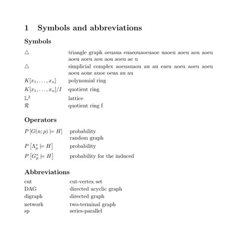 section abbreviation symbol formal looking symbols operators and abbreviations