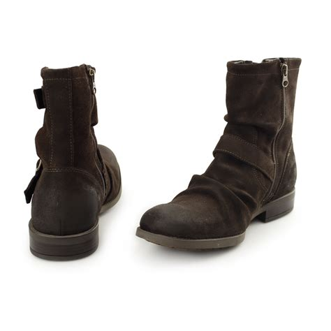 casual biker boots base london metal rustic mens greasy suede leather casual