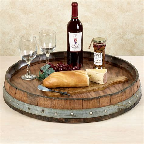 lazy susan reclaimed wine barrel large lazy susan