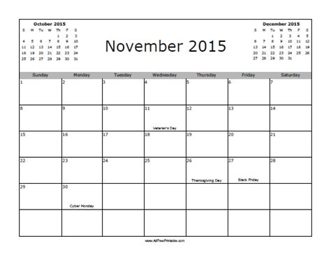 printable calendar november 2015 holidays november 2015 calendar with holidays free printable