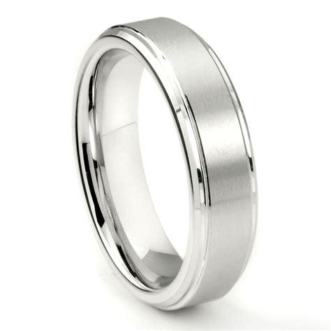 white tungsten carbide 6mm wedding band ring w raised center