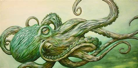octopus by jon hoffman green kraken tentacles ocean sea