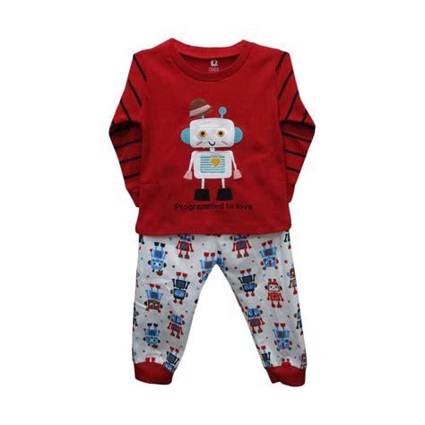 Baju Hem Bayi jual gracie motif robot baju tidur bayi laki laki merah harga kualitas terjamin