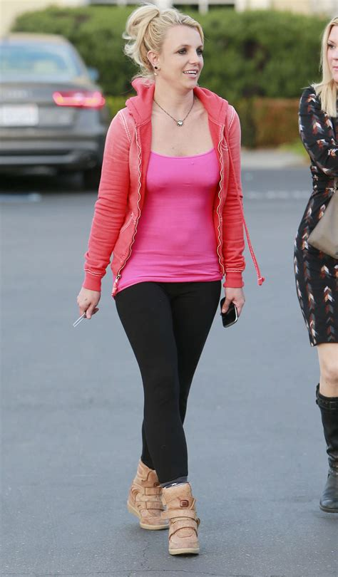 Britneys Wears Pink by Wear Tight Pink Top And Black 16
