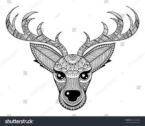 Patterned Animal Coloring Pages by Zentangle Vector Reindeer Antistress Coloring Stock