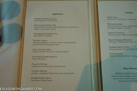 the lunch room menu escape menus cruise with gambee