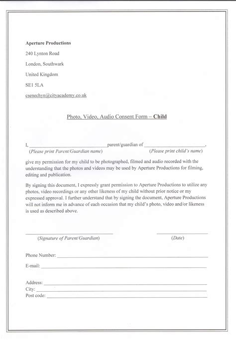 consent to photograph template photograph consent form images