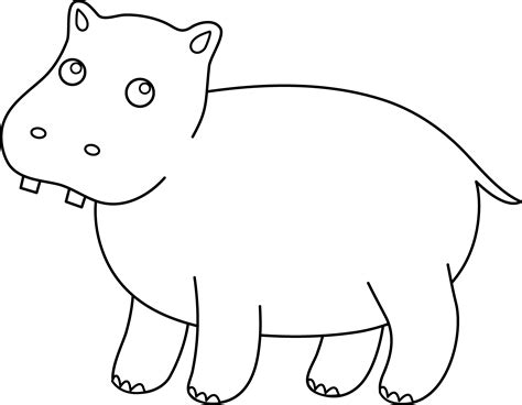 hippopotamus 27 animals printable coloring pages cute hippo coloring page free clip art