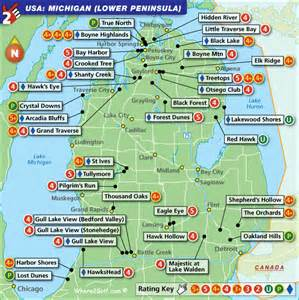 golf courses map michigan lower peninsula golf map with top golf courses