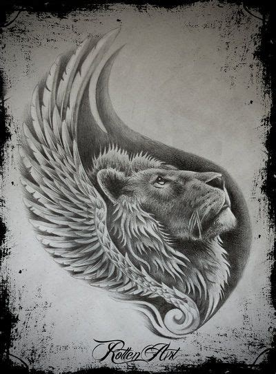 lion with wings tattoo beautiful drawing tattoos