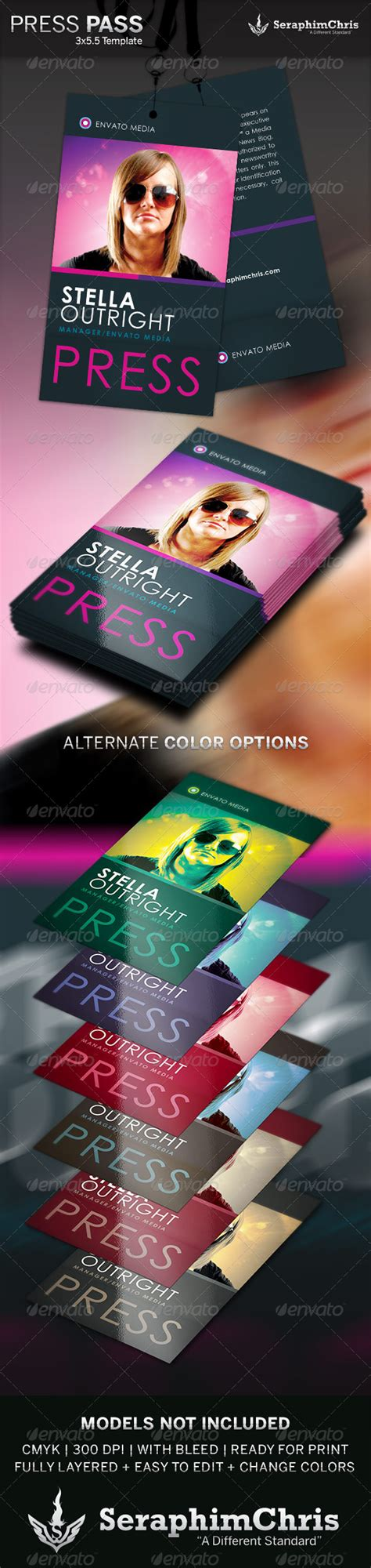 Press Pass 4 Template Graphicriver Media Pass Template Photoshop