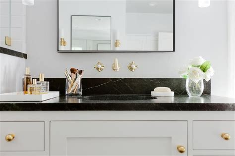 black bathroom countertop black and white bathroom with soapstone countertops and