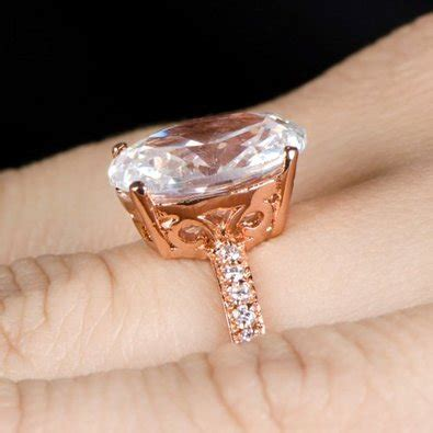 Vintage Style Rose Gold Plated CZ Engagement Rings   Fake