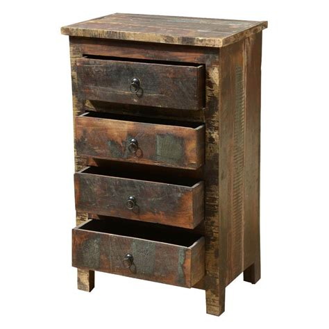 Distressed Wood Nightstand by Appalachian Rustic Distressed Reclaimed Wood 4 Drawer