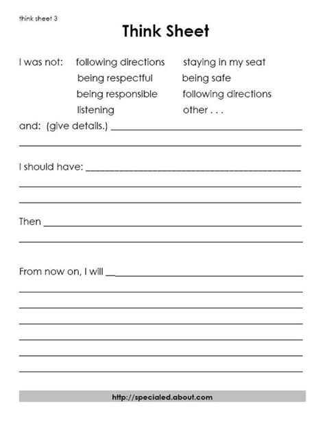 printable student activity sheets 7 best images of printable behavior sheets classroom