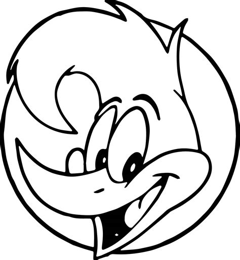 fabulous woody woodpecker face coloring page with