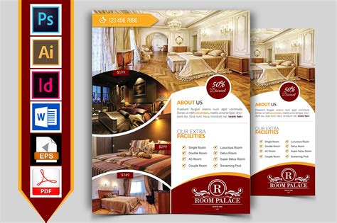 Hotel Flyer Template Vol 03 Flyer Templates Creative Market Hotel Flyer Template