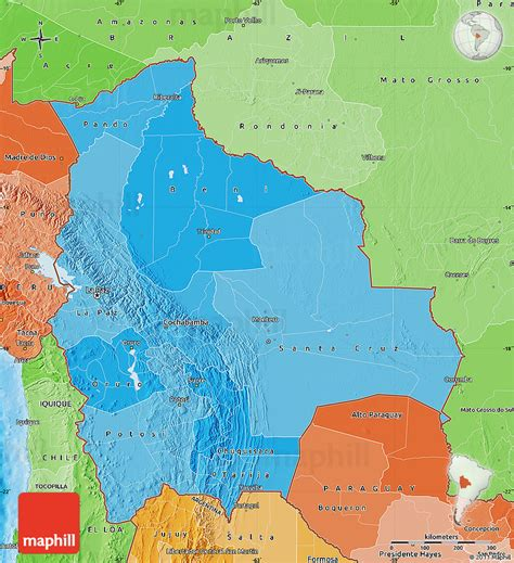 bolivia political map political shades map of bolivia