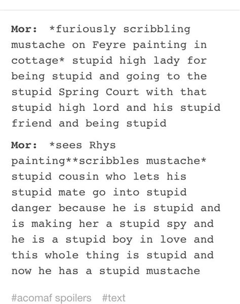 Mor drawing mustaches on the Feyre and Rhys paintings. A
