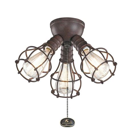 Industrial 3 Light Branched Ceiling Fan Light Kit