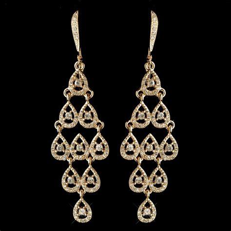 Rhinestone Chandelier Earrings Gold Clear Rhinestone Chandelier Earrings 389