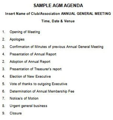 agenda for agm template 205 professional meeting agenda templates demplates