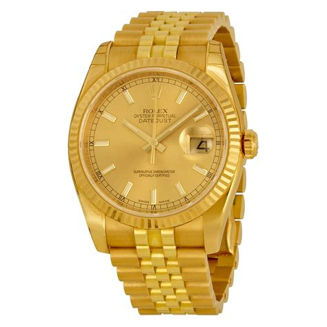 Rolex Datejust Automatic Gold Dial 18kt Yellow Gold Watch