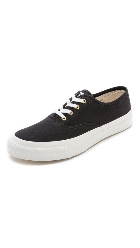 maison kitsun 233 plimsoll sneakers in black for lyst
