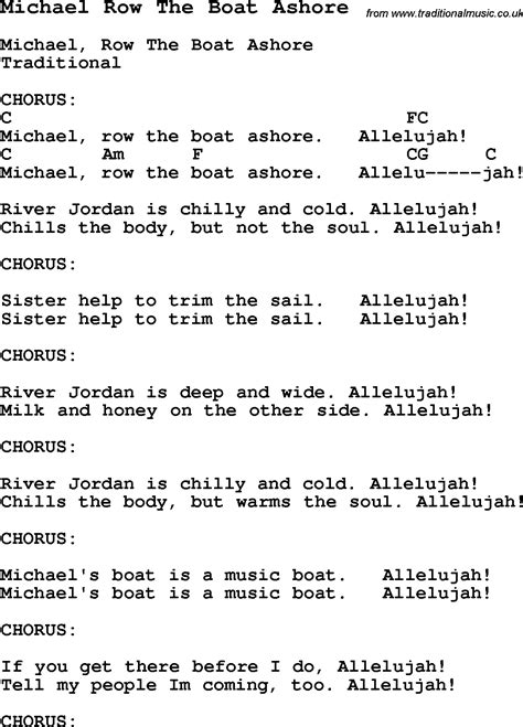 chords for michael row the boat ashore traditional song michael row the boat ashore with chords
