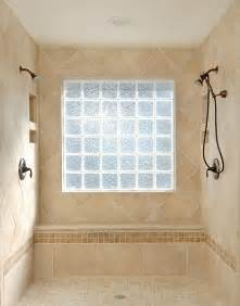 glass block shower window bathroom designs