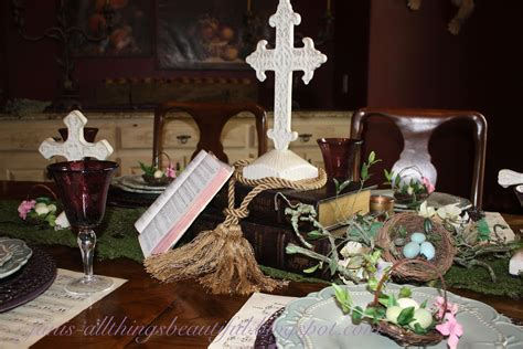christian easter table decoration photograph and just look