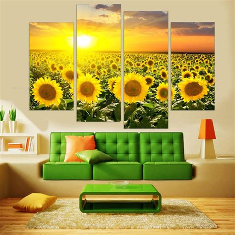 sunflower hd printed canvas painting flower wall modular painting bakeryworldstyle brand