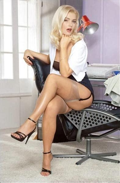 blonde secretary in nylons and see thru panties