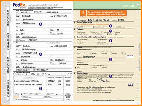 5 fedex air waybill pdf simple bill