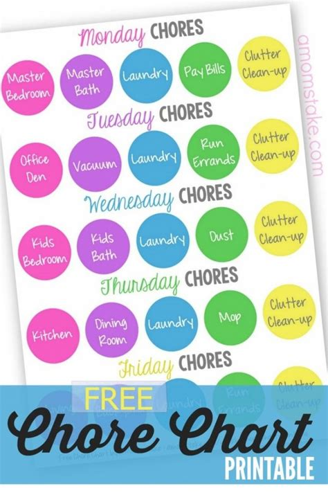10 best images of printable chore charts for adults free