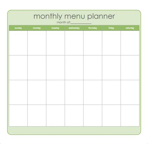 monthly dinner menu template 8 best images of sle monthly menu planner printable