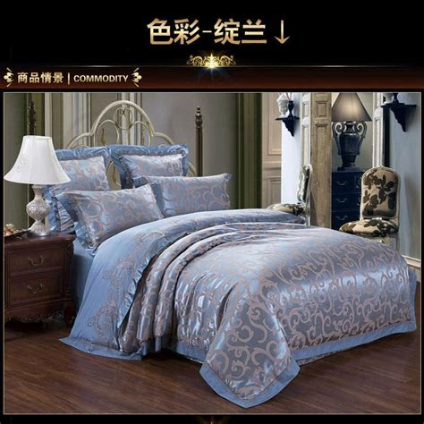 blue satin comforter luxury blue satin jacquard bedding set king queen size