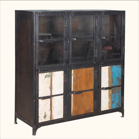 kitchen buffet storage cabinet industrial iron rustic reclaimed wood buffet kitchen