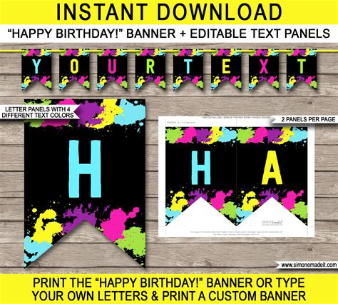 printable neon letters neon glow party pennant banner template happy birthday