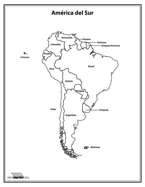 da clic para ver en grande e imprimir mapa del continente sur americano con nombres para imprimir
