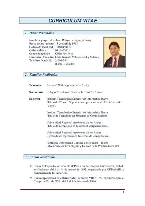 Modelo Curriculum Vitae Ingeniero Agronomo Curriculum Vitae