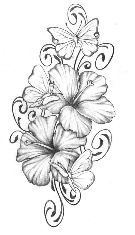 colorful flower tattoos designs royalty free images no hibiscus with butterfly tats pinterest hibiscus