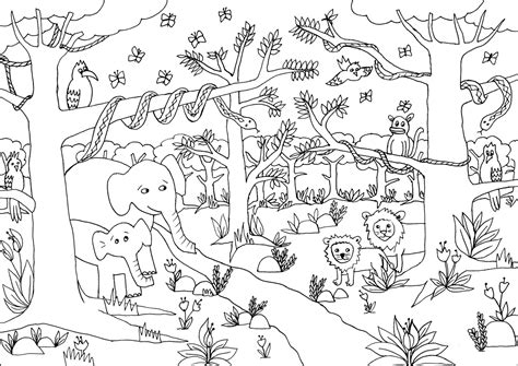 free coloring pages jungle theme free cartoon jungle animals coloring pages
